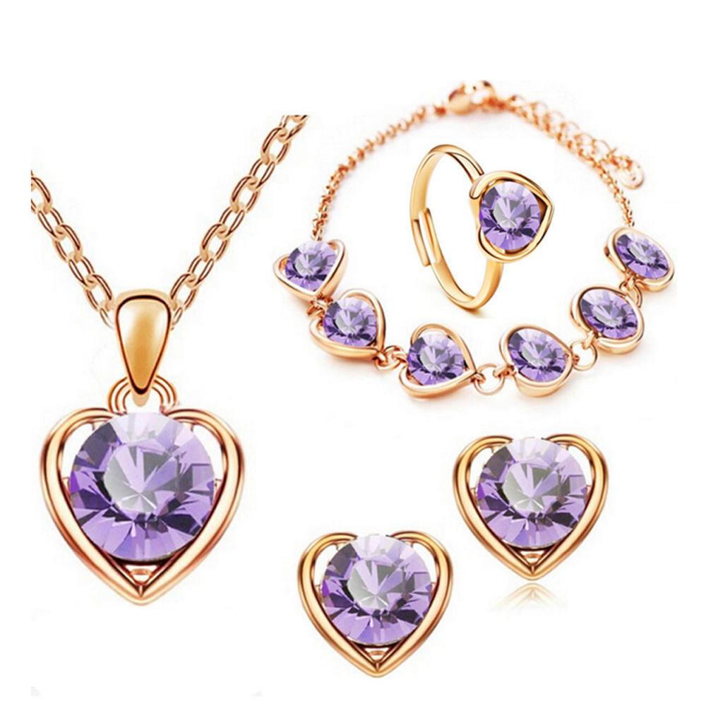 Heart engraved latest ring necklace bracelet set earring jewelry