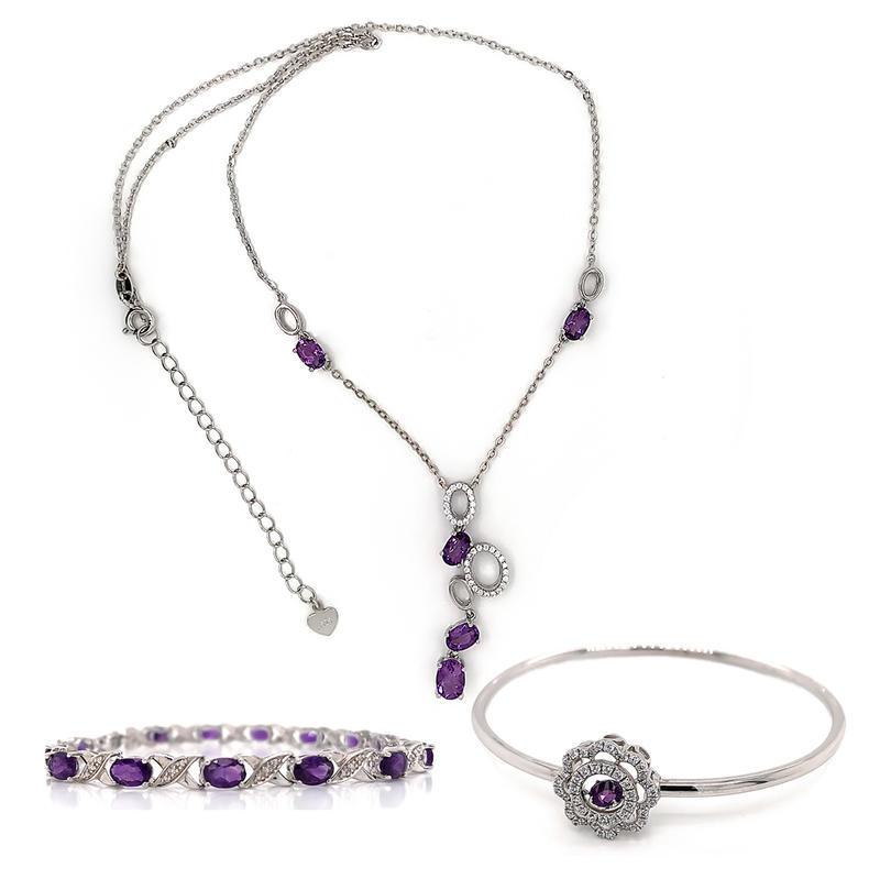 Geometric String Necklace, Flower Bangle, Amethyst Letter Bracelet, Beautiful Jewelry Set