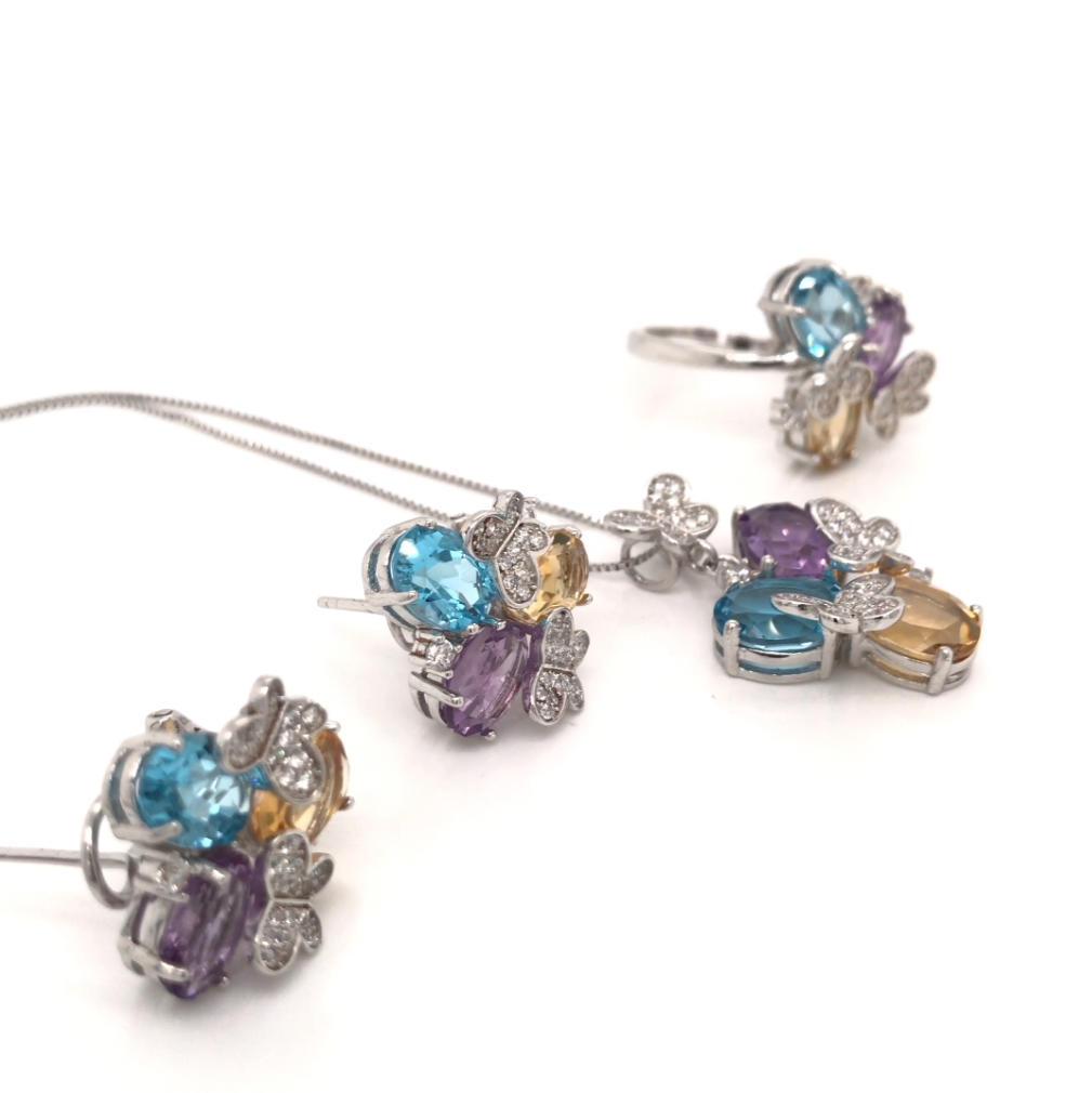 Big Fashion Costume Jewelry Set, Butterfly Design Three Color Big Stone Flower Jewelry Set