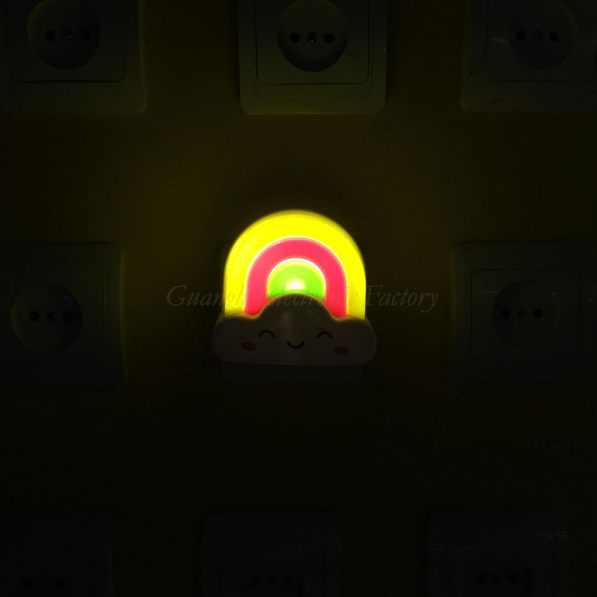 W030 rainbow shape LED SMD mini switch plug in night light and 110V or 220V AC