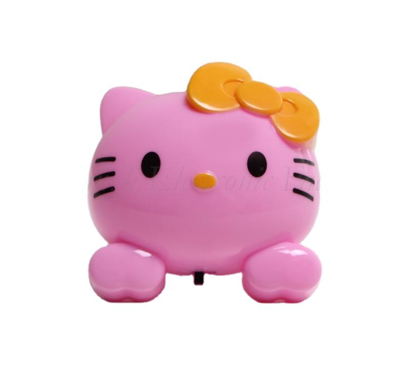 W085 4SMD mini switch plug in cat with cute bowtie night light For Baby Bedroom wall decoration