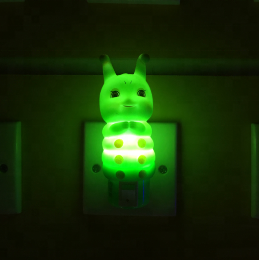 W039 Soft cute Caterpillar silicone shape LED SMD mini switch plug in night light with AC 110V 220V