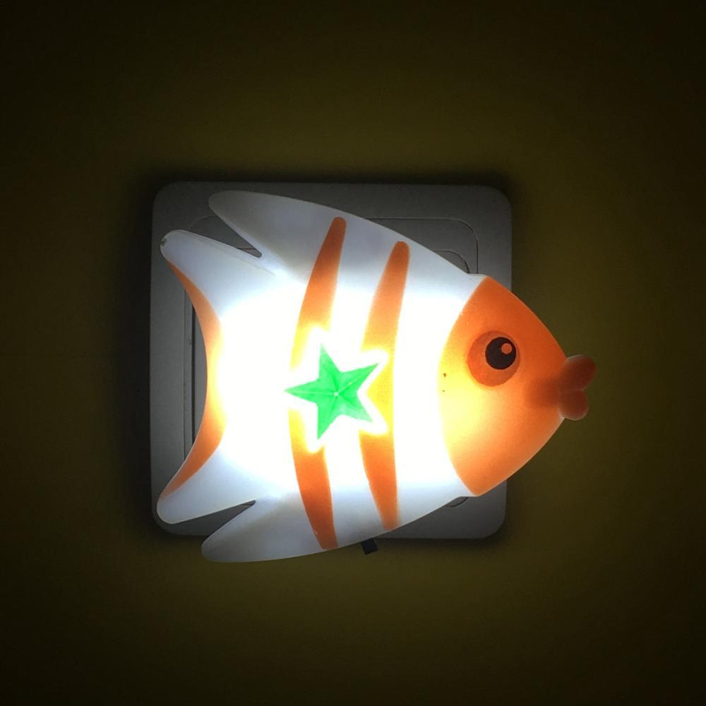 W037 Fish cute shape LED SMD mini switch plug in night light 0.6W AC110V 220V W037
