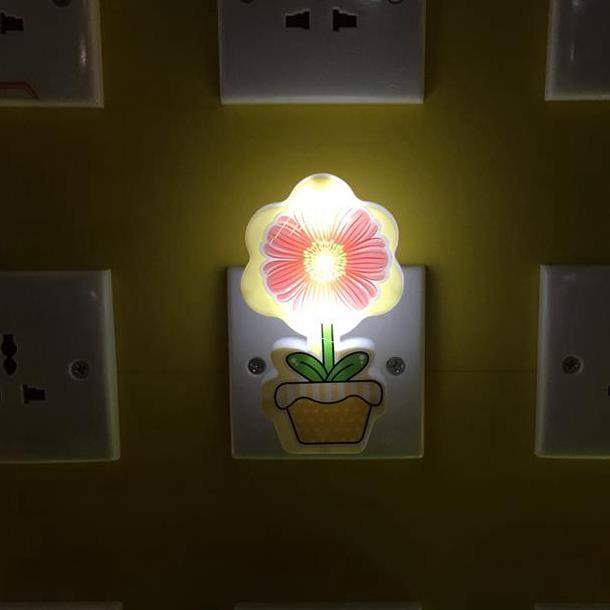 W075 OEM mini switch plug in flower pot night light cute gift For Children Baby Bedroom