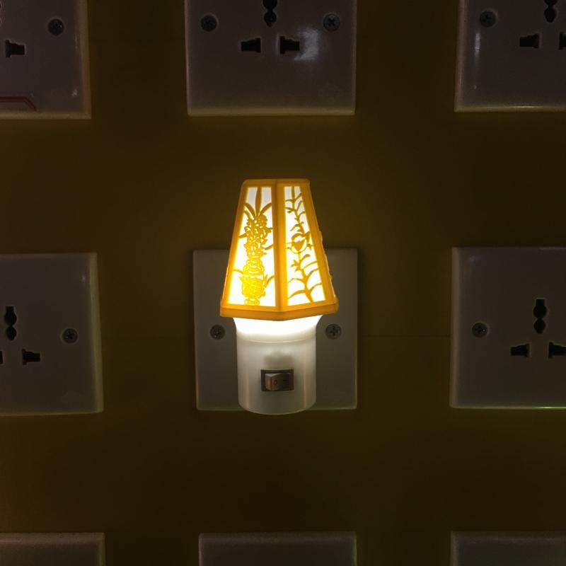 OEM Carved design shape 4SMD mini switch plug in LED night light for decoration W056