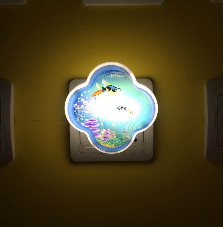 OEM W087 Clover 4 SMD mini switch plastic material plug in night light with for children gift cartoon film image