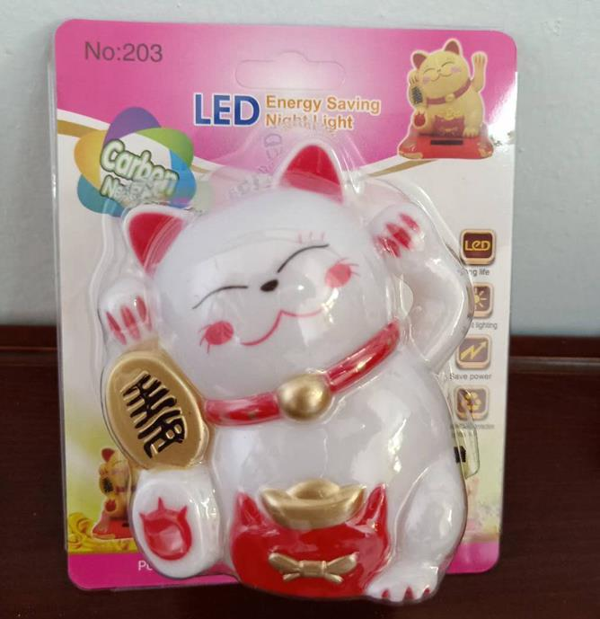 OEM W093 Fortune lucky Cat with Flower LED SMD mini switch plug in night light room usage