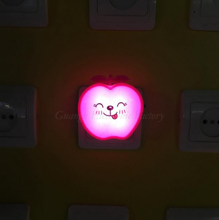 W077 OEM switch plug in creative fruits apple led night light For Children Baby Bedroom