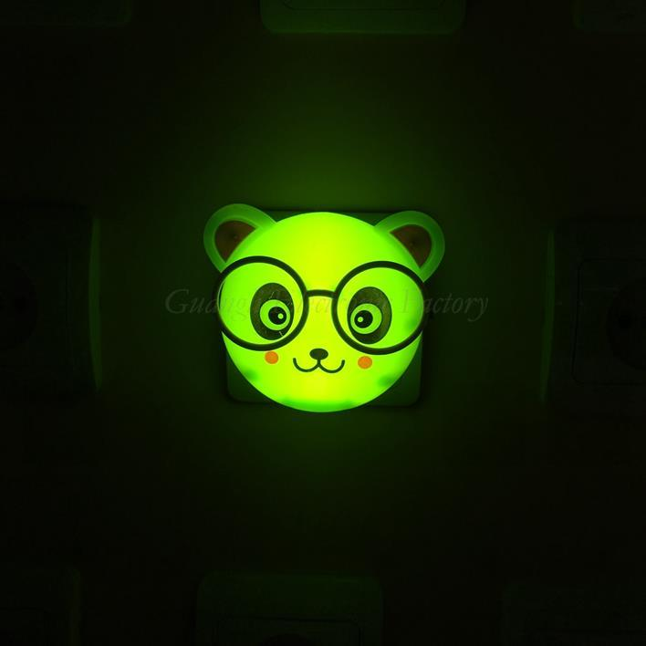 OEM W100 mini bear with glasses switch plug in led night light For Baby Bedroomwall decoration children gift