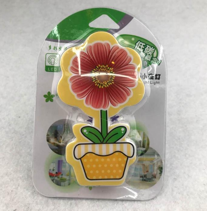 W075 mini switch plug in flower pot night light cute gift For Children Baby Bedroom with 0.6W AC 110V 220V