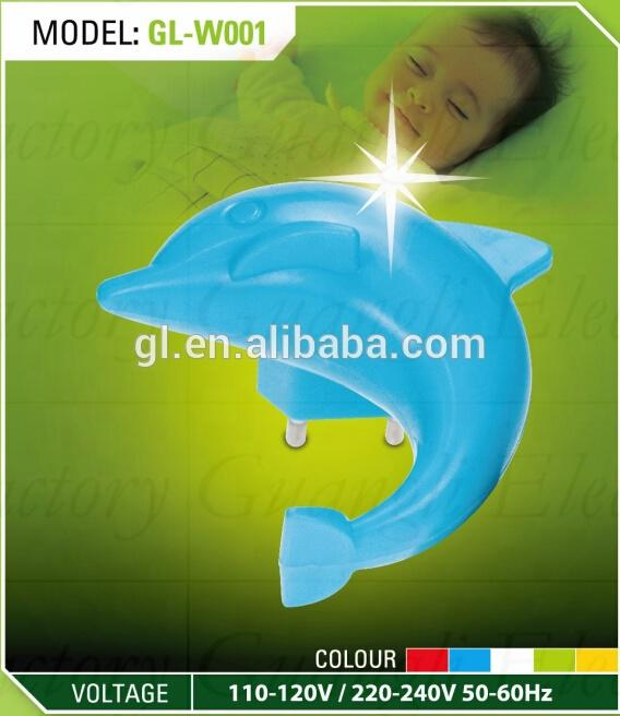 Dolphin shape baby LED mini switch plug in night light with 0.6W and 110V or 220V