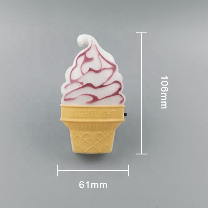 GL-W036 Pink Ice Cream Night Light Model Toys Children Kid Bedroom Decor Gift sensor plug in lighting