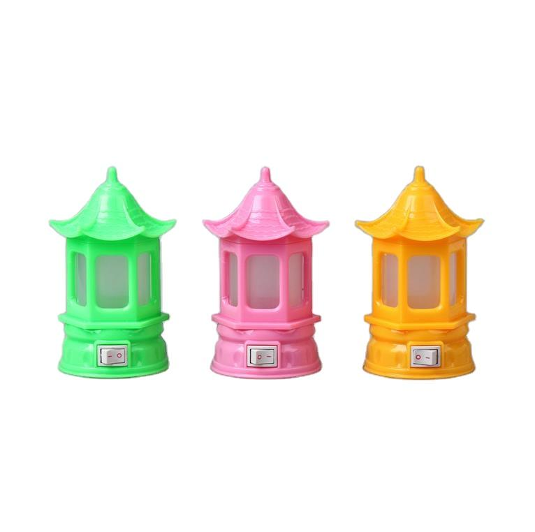 W066 OEM pavilion shape 3SMD mini creative switch plug in LED night light for baby kids bedroom 0.6W 110V 220V