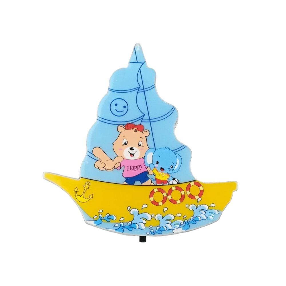 W073 Cartoon mini switch plug in sailboat LED night light For kids Baby Bedroom with 0.6W AC 110V 220V