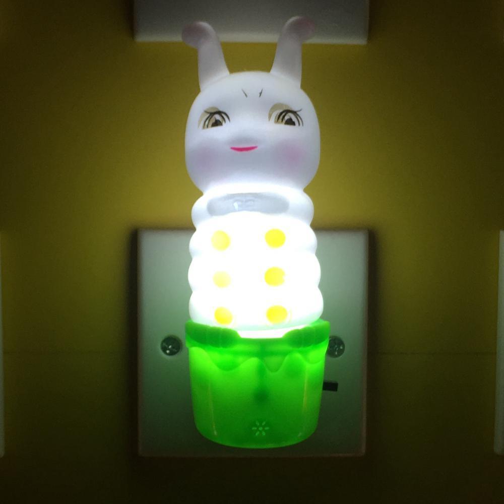 W059 Plastic Caterpillar silicone shape 4SMD mini switch plug in night light with 0.6W AC 110V 220V