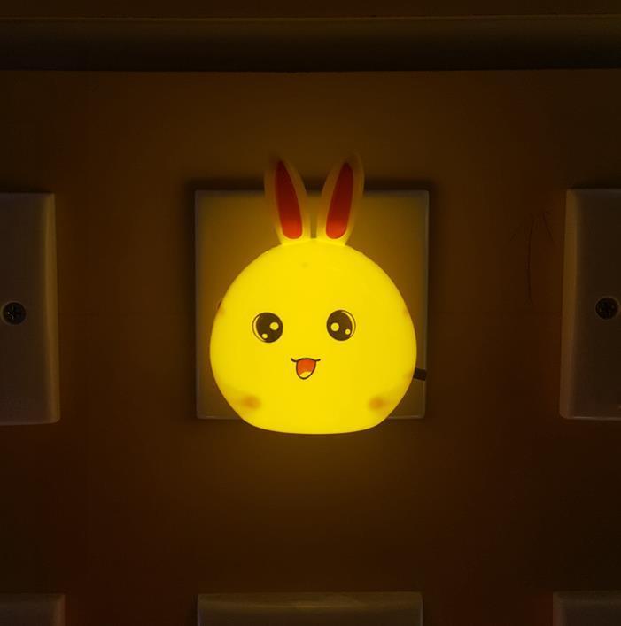 OEM W103 Oval long-eared rabbit shape 4SMD mini switch plug in night light wall decoration children gift