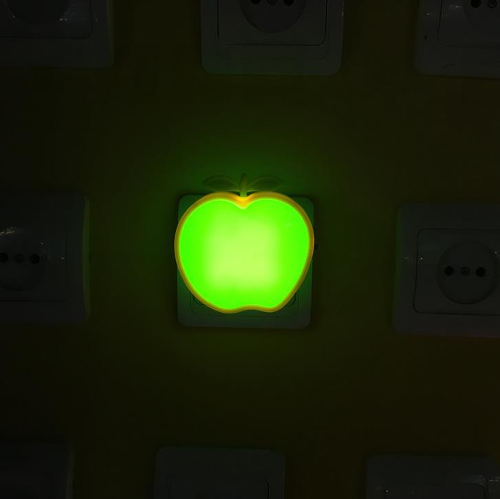 OEM W088 switch plug in creative fruits apple with leaf led night light For Children Baby Bedroom room usage
