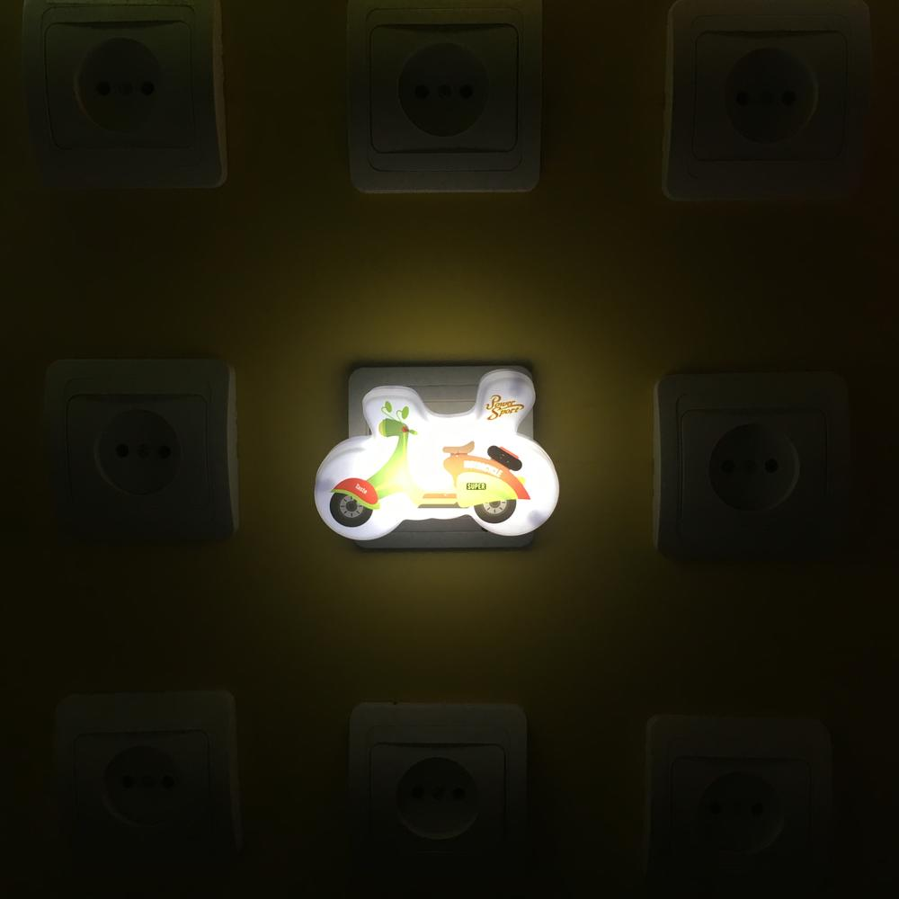 W012 OEM 4SMD mini switch plug in motorbike Motorcycle cartoon room usege night light For Baby Bedroom cute gift