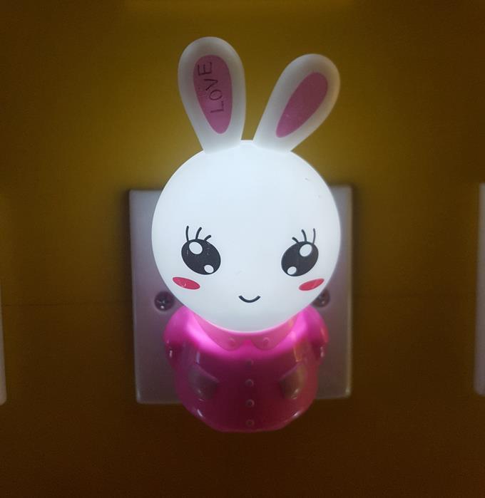 OEM W104 cartoon pink rabbit 4SMD mini switch plug in night light wall decoration children gift