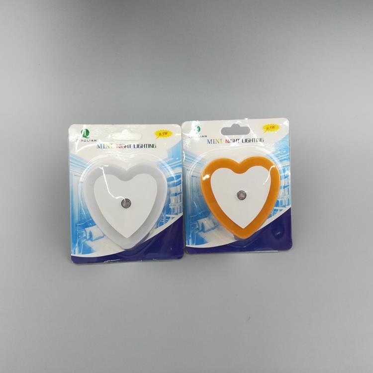 OEM W105 love heart 4SMD mini switch plug in night light wall decoration children gift