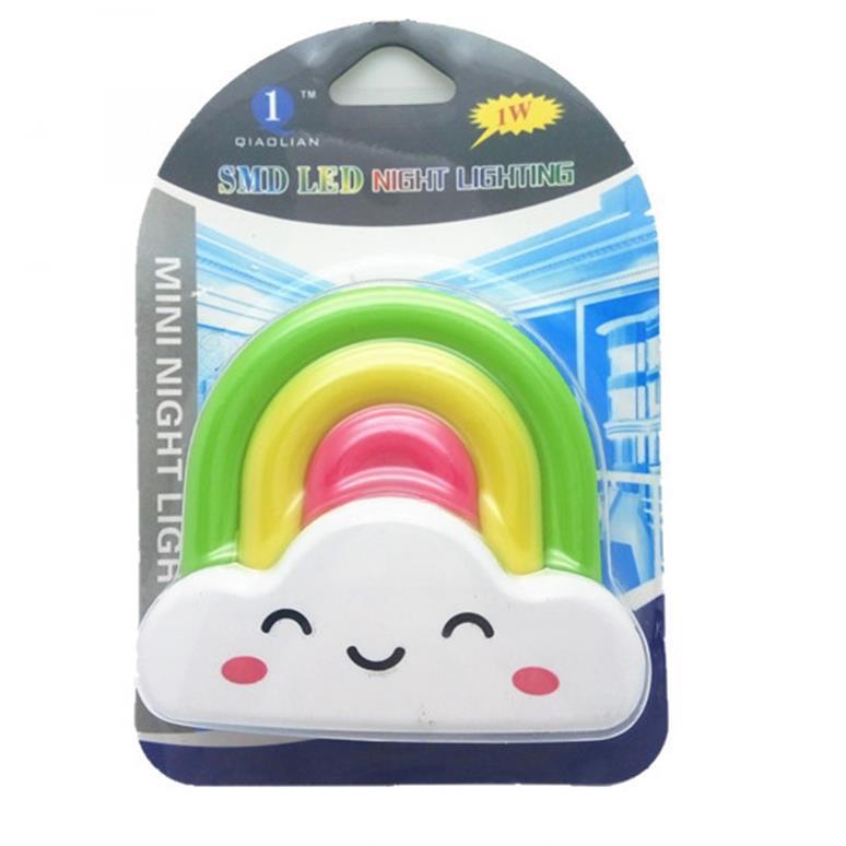 OEM W030 rainbow shape LED SMD mini switch plug in night light and 110V or 220V AC