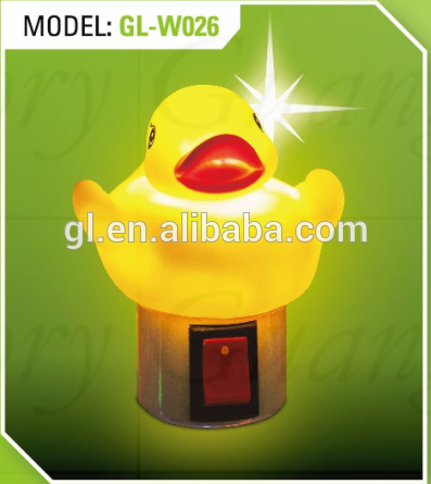 creative gift mini switch plug in LED yellow cute duck night light for baby kids bedroom with 0.6W and 110V or 220V W026