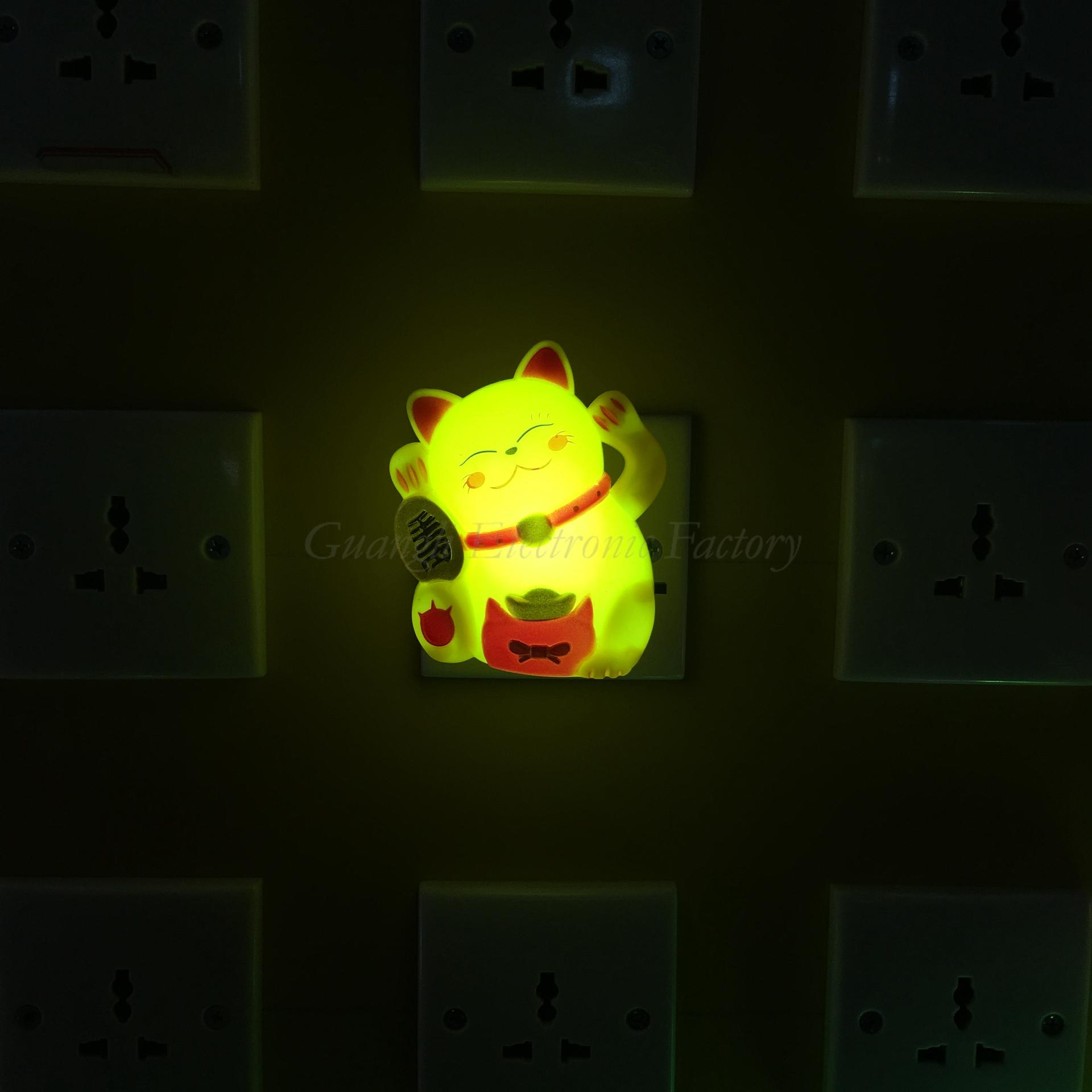 W093 Fortune lucky Cat with Flower LED SMD mini switch plug in night light room usage with 0.6W
