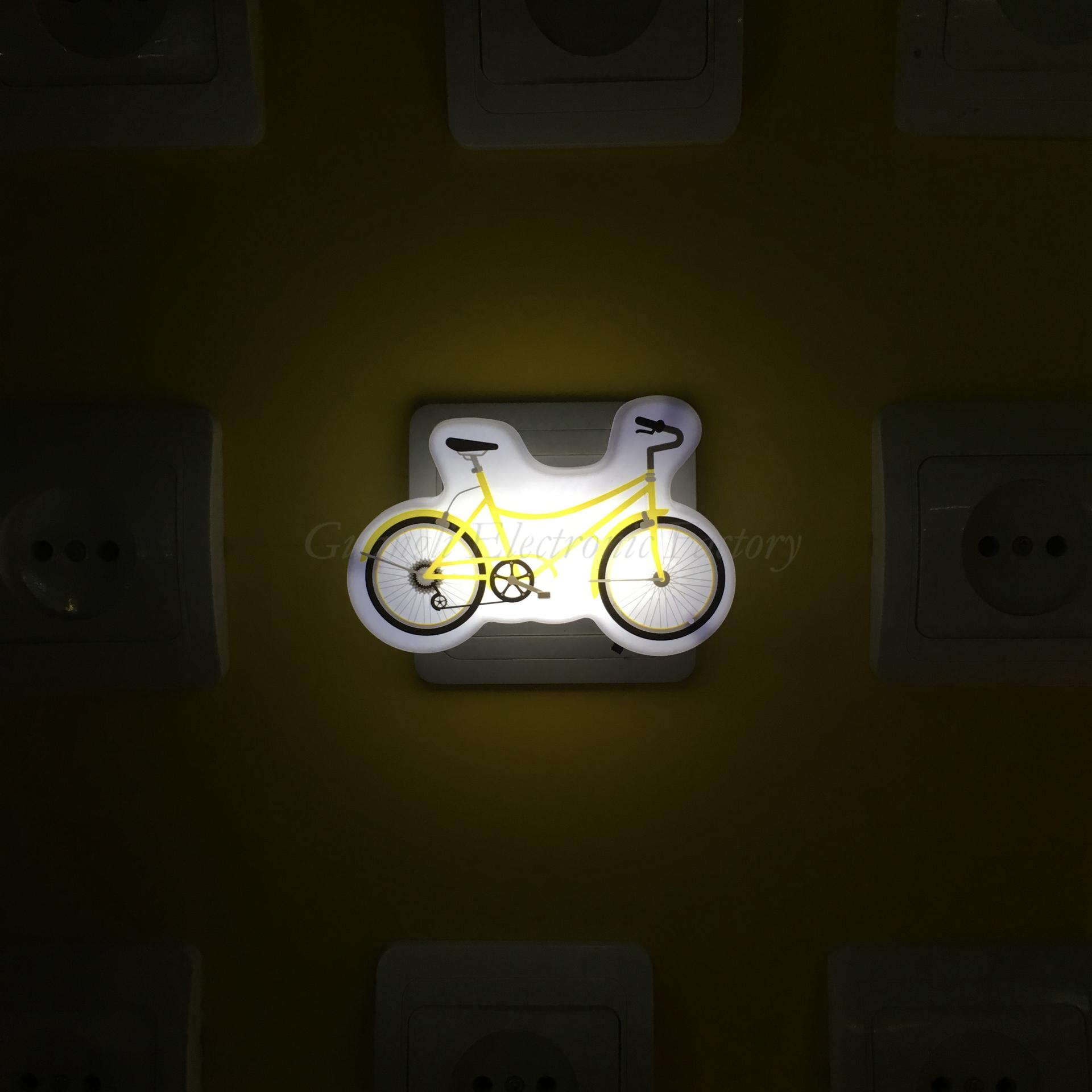 W095 Cartoon bicycle 4 SMD mini switch plug in room usage withnight light wall decoration child gift