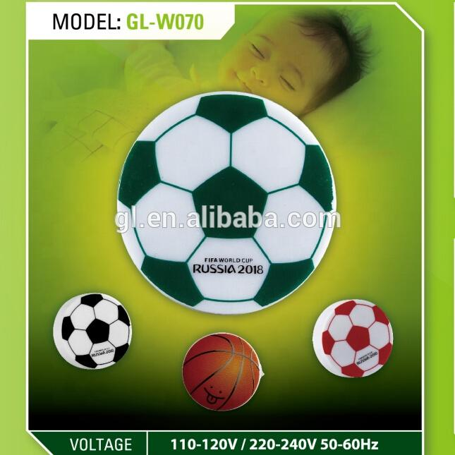 W070 World Cup Souvenir gifts mini switch plug in football basketball LED night light with 0.6W AC 110V 220V