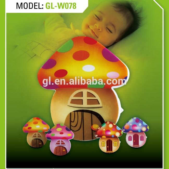 W078 mini switch plug in mushroom LED night light cute gift For Children Baby Bedroom
