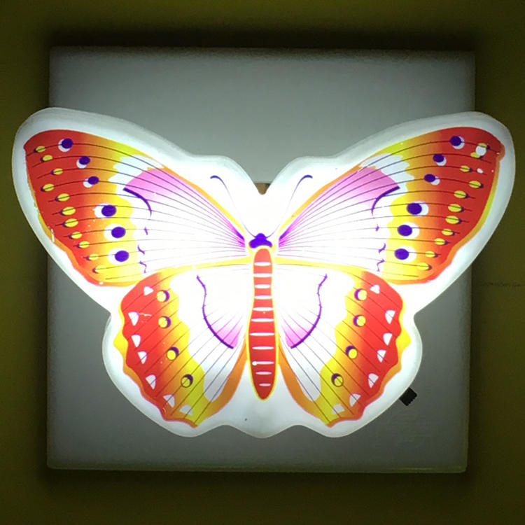 W094 Beautiful Butterfly Animals 4 SMD mini switch plug in room usege withnight light