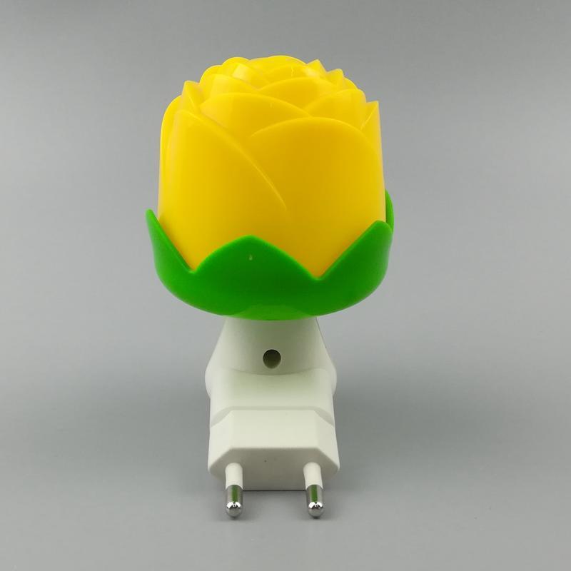 Flower rose shape 3 SMD mini switch sensor plug in night light with 0.6W AC 110V or 220V W042