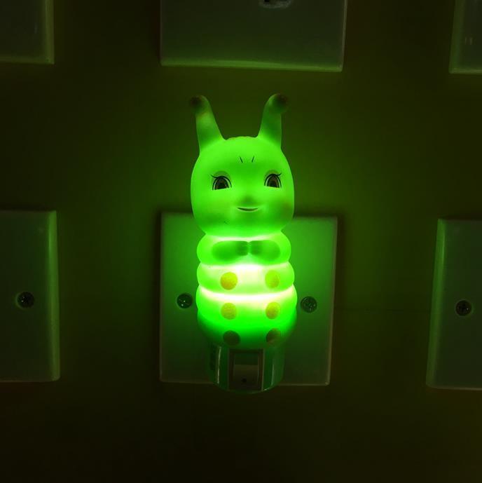OEM W059 Plastic Caterpillar silicone shape 4SMD mini switch plug in night light with 0.6W AC 110V 220V