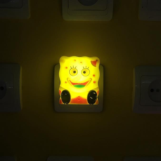 OEM W064 Spongebob squarepants shape 4 SMD mini switch plug in night light 0.6W AC 110V 220V