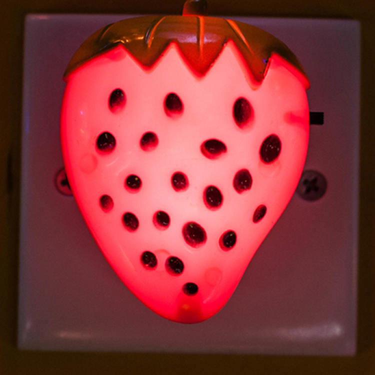 strawberry fruits shape LED SMD mini switch plug in night light with 0.6W and 110V or 220V