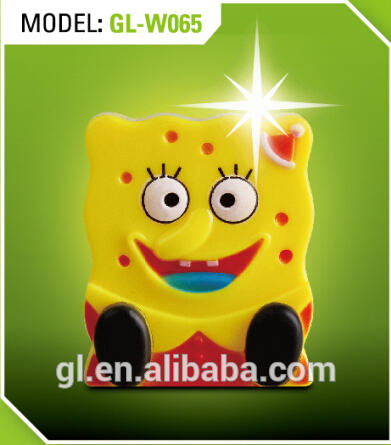 W064 Spongebob squarepants shape 4 SMD mini switch plug in night light 0.6W AC 110V 220V