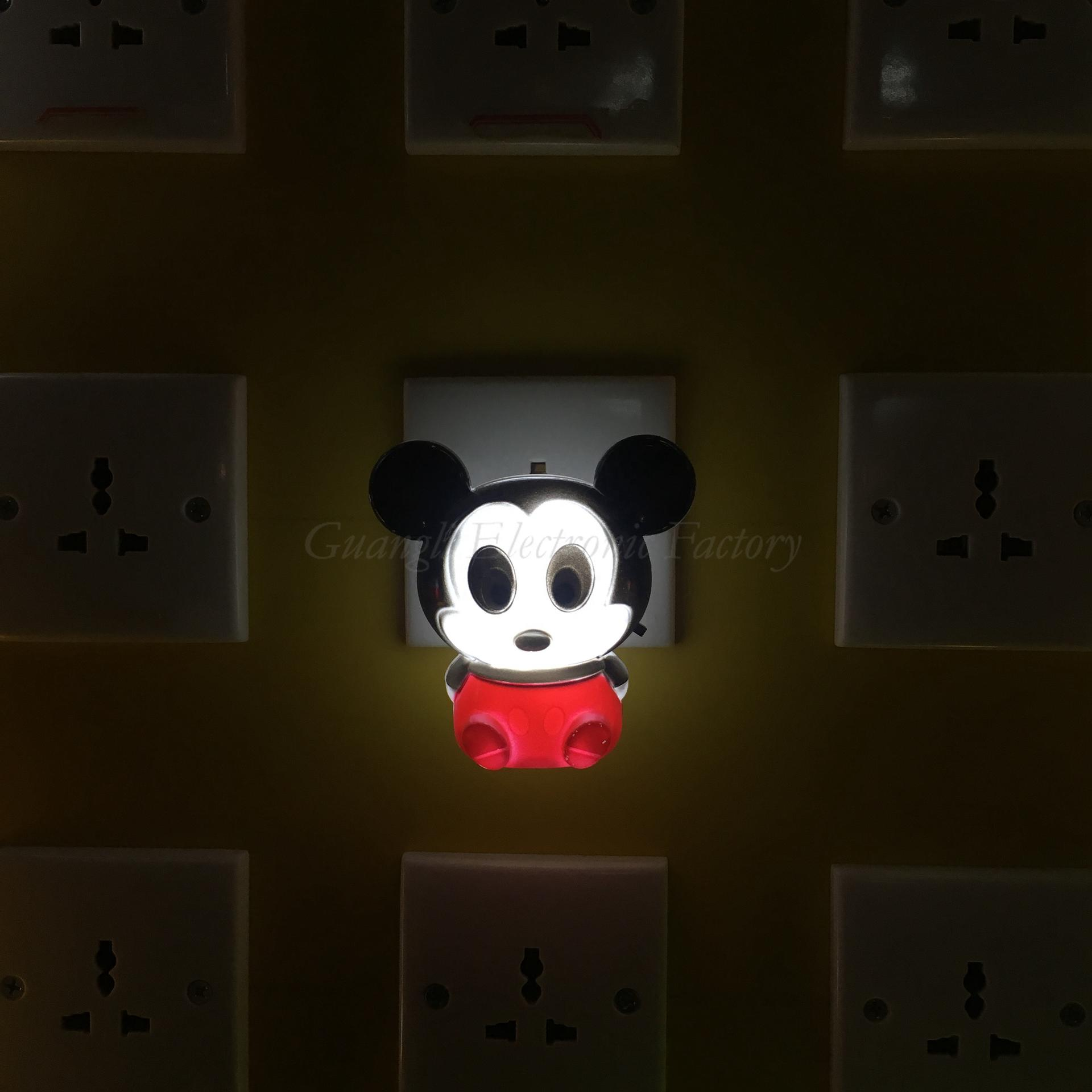 Toy Mickey Mouse shape 4 SMD mini switch plug in night light 0.6W AC 110V 220V W051