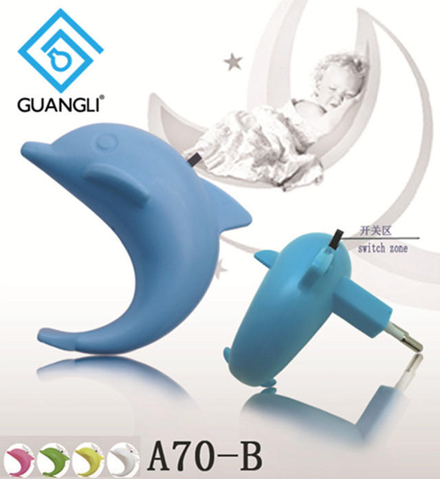 plug in night light with 0.6W and 110V or 220V Dolphin shape baby LED mini switch