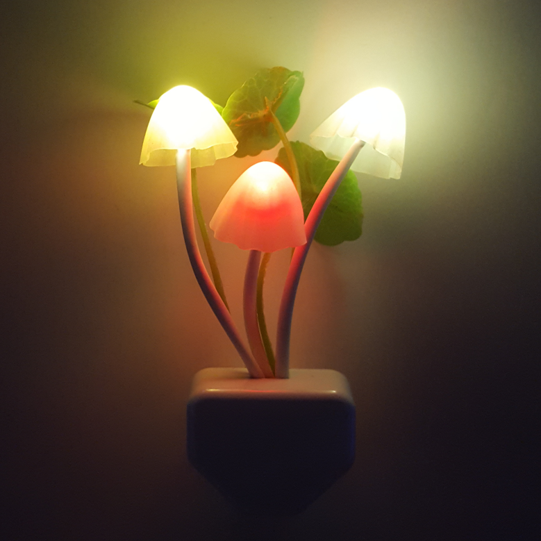 OEM Novelty Mushroom flower and leave shape wall night light mini switch plug in decoration in home
