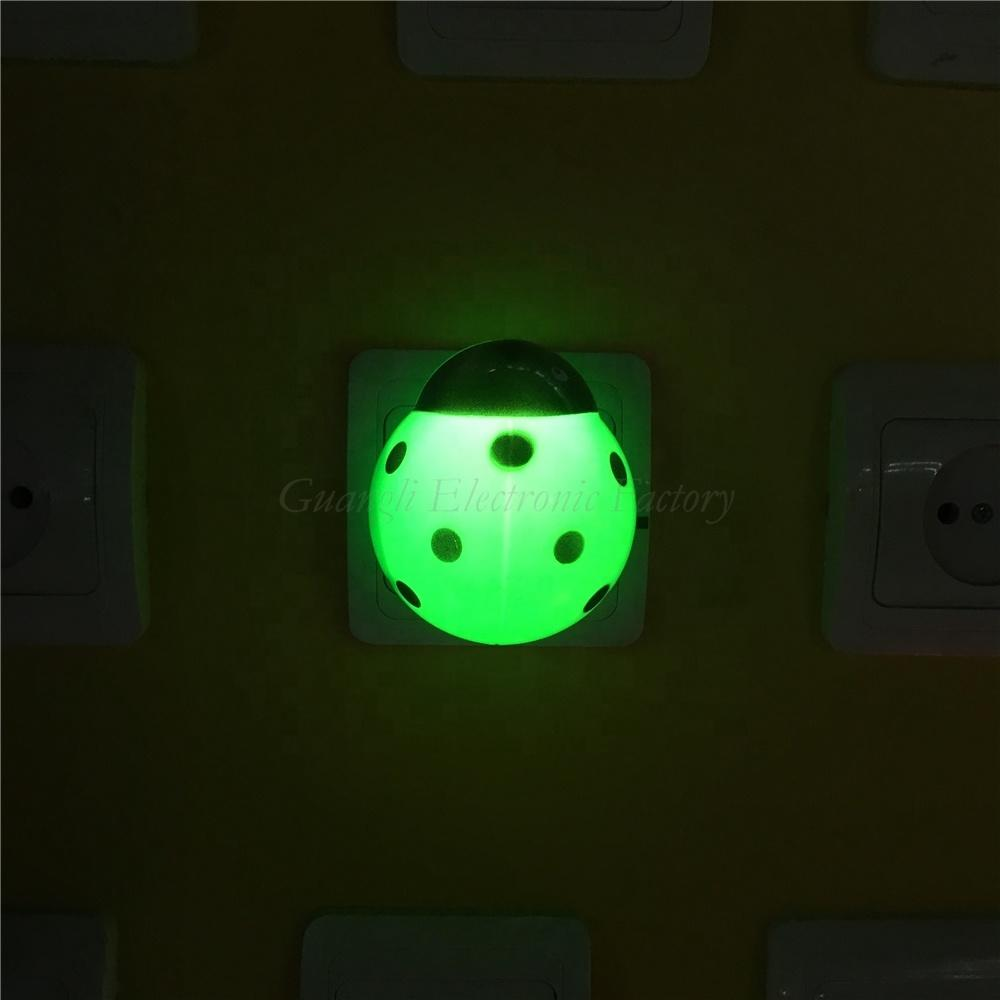 animal beetle shape LED mini switch plug in plastic LED night light with 0.6W and 110V or 220V