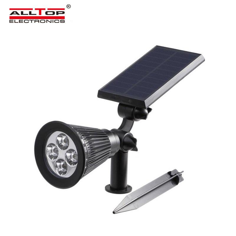 ALLTOP Super brightness outdoor adjustable IP65 waterproof lighting 4w courtyard RGB solar LED spike light
