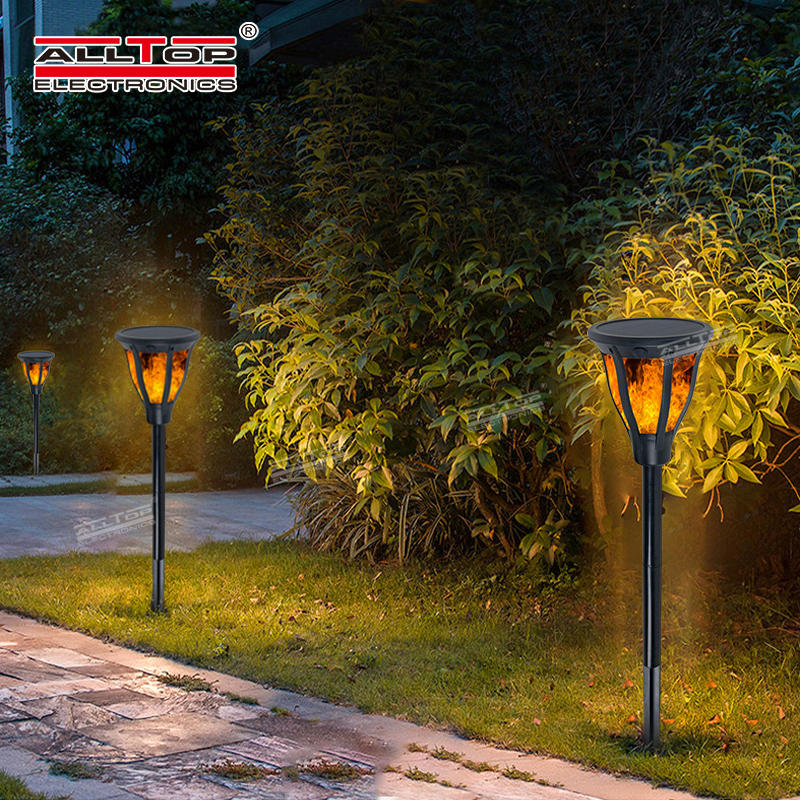 ALLTOP High quality new classic ip65 2w outdoor garden lighting all in one solar led flame light