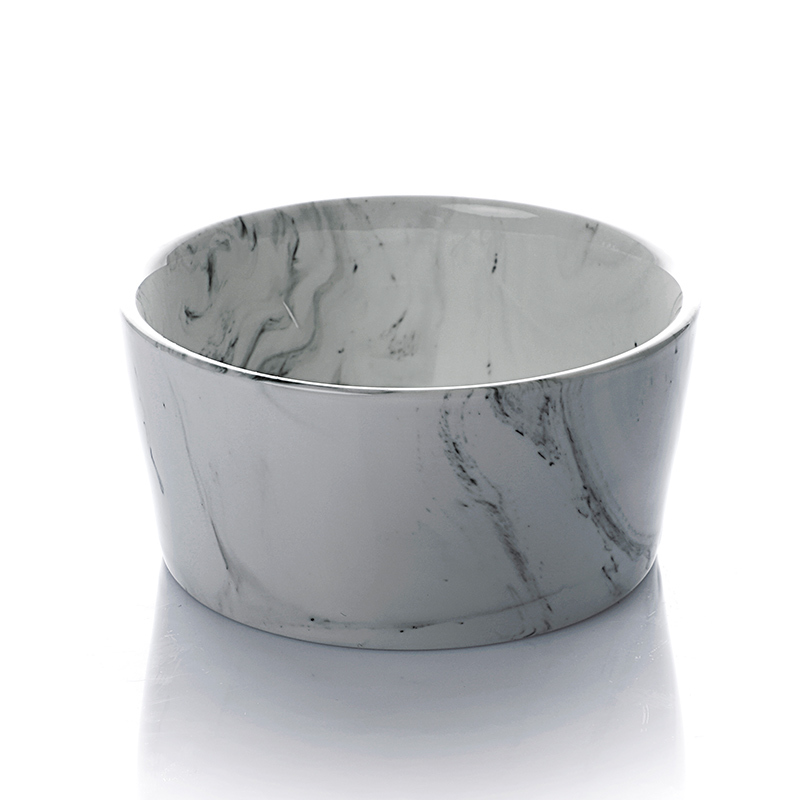 Hot Sale Marble Salad Bowl, White Porcelain Bowls, High Quality Customize Restaurant Slanted Salad Bowls