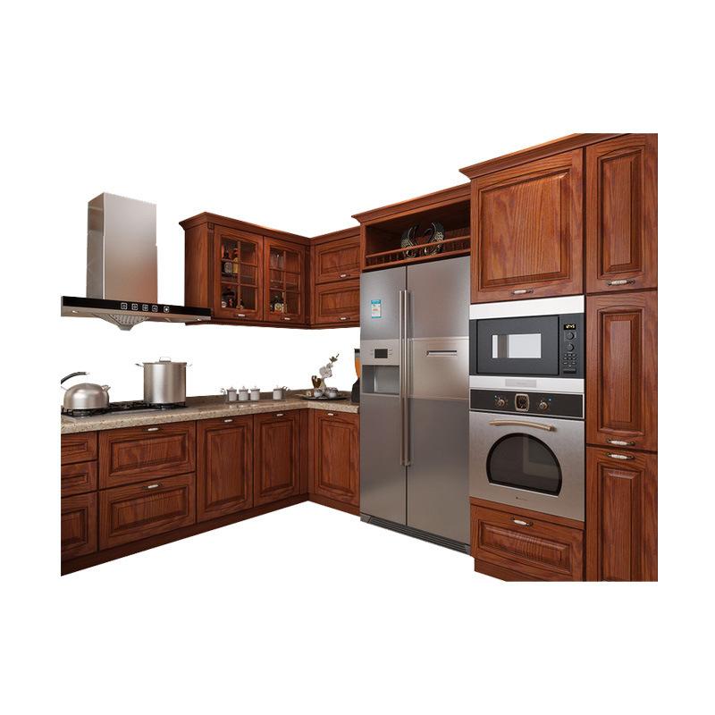 Integral ambry red oak European solid wood kitchen project custom furniture