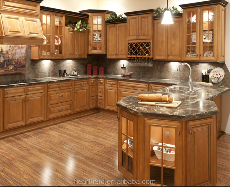 American Style Kitchen Storage Cupboard CabinetPrefab Storage Solid Wood Kitchen Cabinet Factory Custom Made