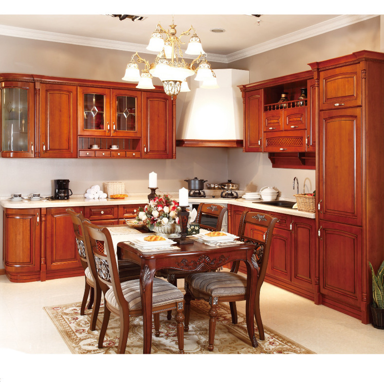 Solid Wood Cabinets Custom European American Overall Red Oak Classical Solid Wood Kitchen Cabinet