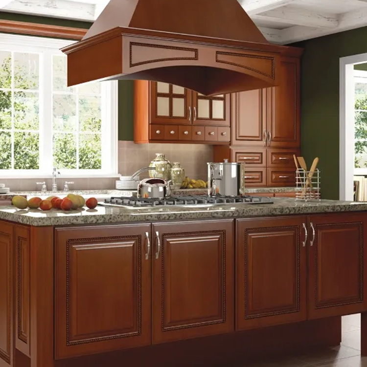 Latest Wooden Furniture Designs Self Assembly Cherry Solid Wood Kitchen Cabinets Factory Direcy Sale assemble cabinet