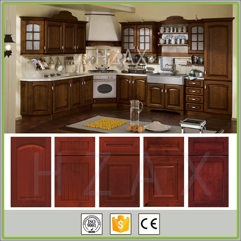 French Style High Quality Solid Walnut Color Wood Kitchen Cabinets Made In China