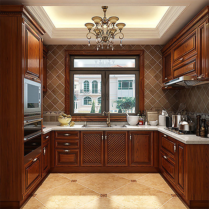 European style solid wood cabinets customized new Chinese kitchen cabinet American furniture factory direct sales