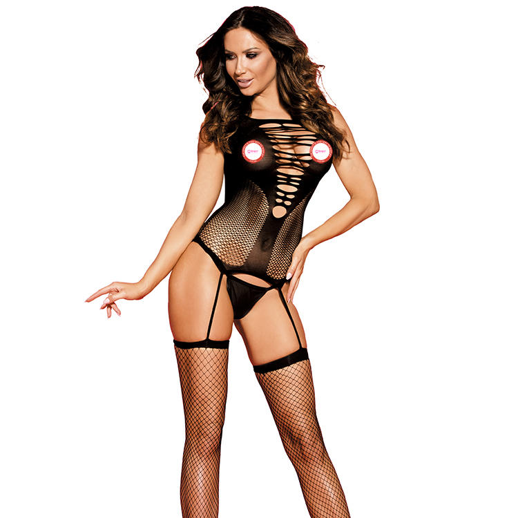 Hot Sexywomen Nylon Transparent Fishnet Bodystocking Adult Luxury See Through Lace Erotic Lingerie Underwear with Garter Belt